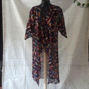 Lularoe multicolor chiffon kimono
